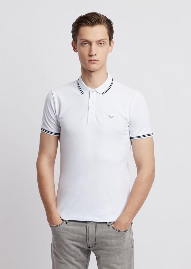 8d8a774de0 Cotton Pique Polo Shirt With Contrasting Logo On Chest