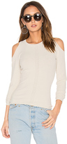 Autumn Cashmere Pointelle Cold Shoulder Sweater in Gray