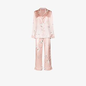 Olivia von Halle Lila bird print silk pyjamas