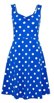 Dorothy Perkins Womens Blue Spot Print Ruched Jersey Dress, Blue