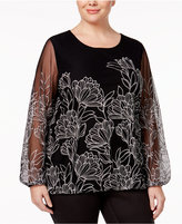 Alfani Plus Size Embroidered Blouson Top, Only at Macy's