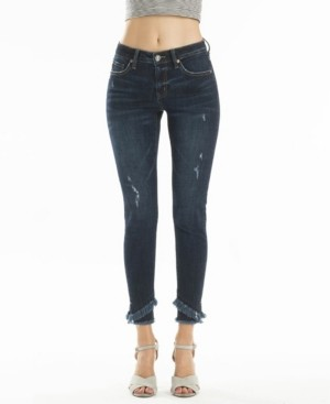 Thumbnail for your product : Kancan Mid Rise Layered Frayed Hem Ankle Skinny