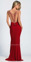 Dave and Johnny Beaded Illusion Back Bow Tied Evening Dress