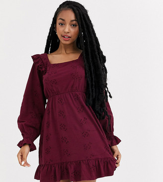 ASOS DESIGN Petite broderie mini dress with frill shoulder in wine