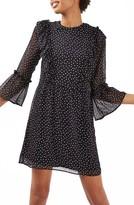Topshop Women's Spot Ruffle Flute Dress