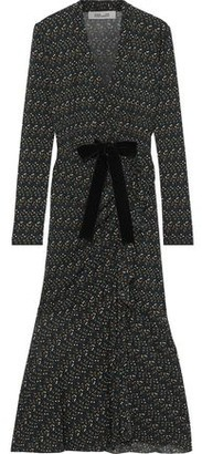 Diane von Furstenberg Crystal Tie-front Polka-dot Stretch-mesh Midi Dress