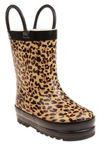 Capelli Kids Toddler Girls' Capelli Fully Fur Lined Floral Rain Boots - Tan 4 - 5