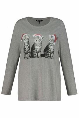 Ulla Popken Women's Weihnachtsshirt Katze A-LINE T-Shirt