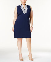 Charter Club Plus Size Split-Neck Shift Dress, Created for Macy's
