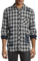 Hudson Weston Plaid Distressed Shirt, White/Black