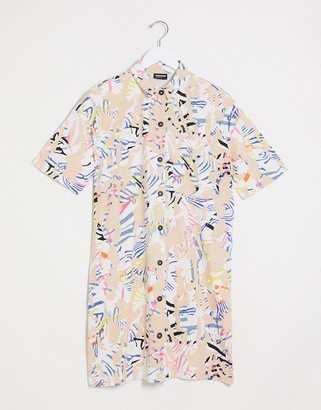Noisy May mini shirt dress in abstract print