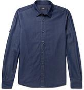 HUGO BOSS Reid Slim-fit Cotton-chambray Shirt - Navy