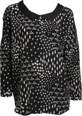 Little Mistress Black Flock Print Collar Top