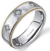 Peora Mill grain Style Titanium 3 Stone Mens Yellow Tone 8 mm Wedding Band Size 8.5
