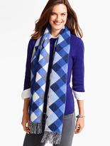 Talbots Fringed Cashmere Wrap - Buffalo Plaid
