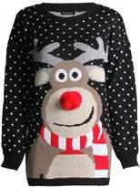 Forever Unisex Rudolph Print 3D Nose Pom Pom Christmas Jumper