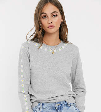 We Are Hairy People organic cotton sweatshirt with hand painted daisy chain-Gray
