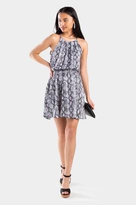 francesca's Mylah Snake Print Flawless Dress - Light Gray