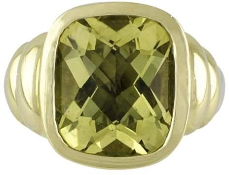 David Yurman 14K Yellow Gold & 925 Sterling Silver Lemon Citrine Noblesse Ring Size 6.0