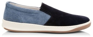 Eleventy Suede & Denim Slip-On Sneakers