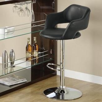Orren Ellis Desma Swivel Adjustable Bar Stool Upholstery: Black
