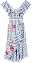 Temperley London Bella Embroidered Striped Cotton-blend Midi Dress - Blue