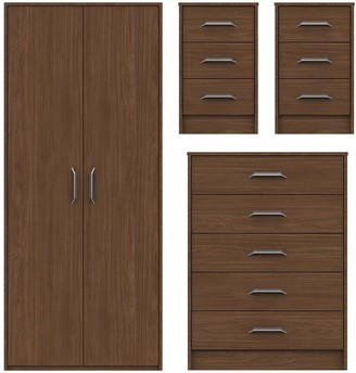 Brianne Ready Assembled 4 Piece Package - 2 Door Wardrobe, 5 Drawer Chest and 2 Bedside Chests