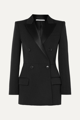 Givenchy Double-breasted Satin-trimmed Wool-blend Twill Blazer - Black