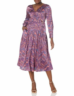 Tahari ASL Women's Puff Sleeve V-Neck Print Surplus Dress