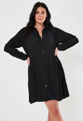 Missguided Plus Size Black Pleated Shirt Dress