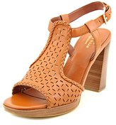 Cole Haan Elettra High Sandal Women Open Toe Leather Brown Platform Sandal.