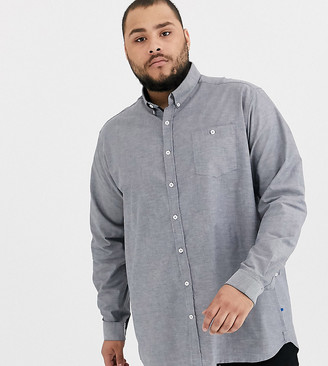 Duke king size stretch oxford shirt with button collar in grey