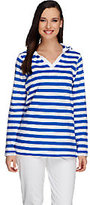 Denim & Co. As Is Active Mesh Stripe Pullover with Hood