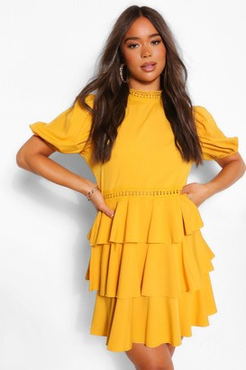 boohoo High Neck Puff Sleeve Tiered Skater Dress
