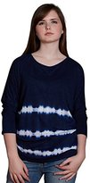 Velvet by Graham & Spencer Women's Tie Dye Stripe Print Linen Dolman Top