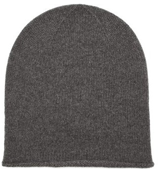 Johnstons of Elgin Rolled-hem Cashmere Beanie Hat - Grey