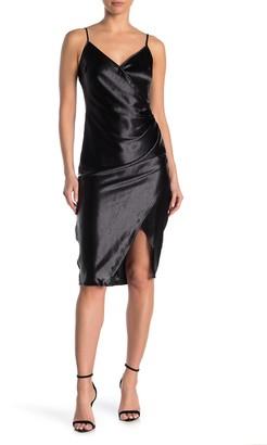 BCBGeneration Side Pleated Satin Woven Midi Dress