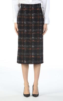 Nâ°21 NA21 Plaid Cotton Pencil Skirt