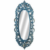 Asstd National Brand Blue Ornate Carved Oval Mirror With Gold