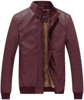 WenVen Men's Winter Fashion Faux Leather Jackets(Red, L)