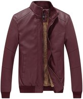 WenVen Men's Winter Fashion Faux Leather Jackets(Red, S)