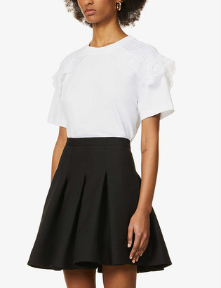 See by Chloe Broderie-overlay cotton-jersey T-shirt