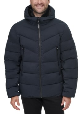 Calvin Klein Men's Stretch Chevron-Quilted Hooded Jacket with Faux-Fur Trim