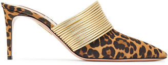 Aquazzura Rendez Vous 75 Leopard-print Suede And Metallic Faux Leather Mules