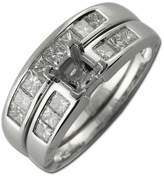TriJewels Diamond Bridal Set Semi Mount Ring & Wedding Band 1.00 ct tw in 14K White Gold.size 5.0