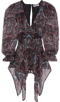 Walter Baker Warron Asymmetric Wrap-effect Printed Georgette Blouse