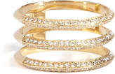Ileana Makri 18kt Yellow Gold Triple Disc Ring with White Diamonds
