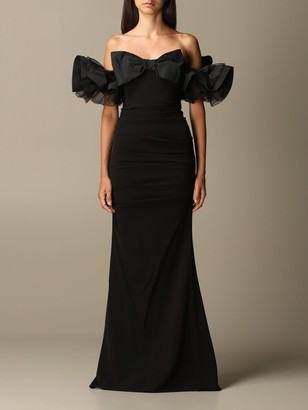 Elisabetta Franchi Long With Bow And Rouche Sleeves