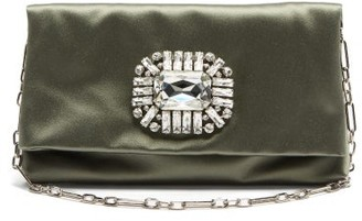 Jimmy Choo Titania Crystal-embellished Satin Clutch - Green