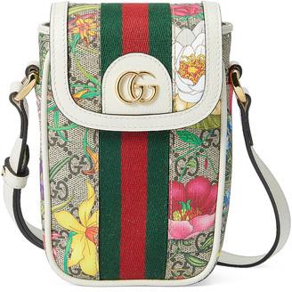 Gucci Mini Floral Chain Bag in Beige Ebony & White   FWRD